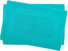 2er Pack 50 x 80 cm Julie Julsen Badvorleger in Premium Qualität 900 gm2 in aktuellen Farben und 4 Größen aus Baumwolle Badematte Badteppich Duschvorleger Design Spirale Türkis