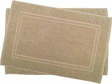 2er Pack 50 x 80 cm Julie Julsen Badvorleger in Premium Qualität 900 gm2 in aktuellen Farben und 4 Größen aus Baumwolle Badematte Badteppich Duschvorleger Design Doppel Rahmen Sand