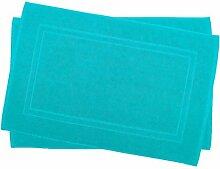 2er Pack 50 x 80 cm Julie Julsen Badvorleger in Premium Qualität 900 gm2 in aktuellen Farben und 4 Größen aus Baumwolle Badematte Badteppich Duschvorleger Design Doppel Rahmen Türkis