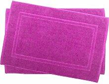 2er Pack 50 x 80 cm Julie Julsen Badvorleger in Premium Qualität 900 gm2 in aktuellen Farben und 4 Größen aus Baumwolle Badematte Badteppich Duschvorleger Design Doppel Rahmen Pink