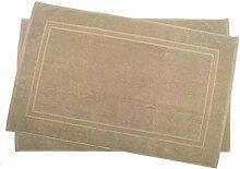 2er Pack 60 x 100 cm Julie Julsen Badvorleger in Premium Qualität 900 gm2 in aktuellen Farben und 4 Größen aus Baumwolle Badematte Badteppich Duschvorleger Design Doppel Rahmen Sand