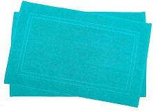 2er Pack 70 x 120 cm Julie Julsen Badvorleger in Premium Qualität 900 gm2 in aktuellen Farben und 4 Größen aus Baumwolle Badematte Badteppich Duschvorleger Design Doppel Rahmen Türkis