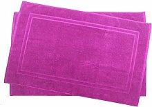 2er Pack 70 x 120 cm Julie Julsen Badvorleger in Premium Qualität 900 gm2 in aktuellen Farben und 4 Größen aus Baumwolle Badematte Badteppich Duschvorleger Design Doppel Rahmen Pink