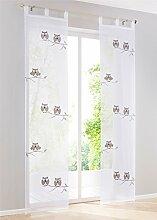 2er-Pack Eule Schlaufenschal Transparent Gardine Deko-Vorhang Fenster-Vorhang Weiss B*H 57*145 cm