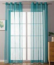 2er-Pack Ösen Gardinen Transparent Vorhang Set