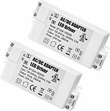 2er-Pack Premium IP44 12V 2A 24W Niederspannungs-LED-Treiber-Transformator Gleich- und Wechselstrom-Schaltnetztei
