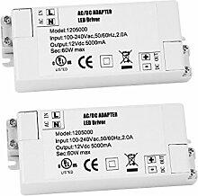 2er-Pack Premium IP44 12V 5A 60W Niederspannungs-LED-Treiber-Transformator Gleich- und Wechselstrom-Schaltnetztei