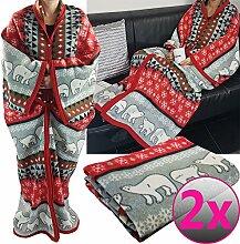2er Pack proheim Kuschel-Decke Cozy Bears mit Ärmeln 150 x 170 cm Partnerset TV-Decke / Ärmel-Decke aus Microfaser kuschelige und wärmende Wohn-Decke, Farbe:Ro