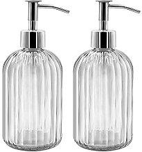 2er Pack Seifenspender Glas mit Pumpe, 400ml