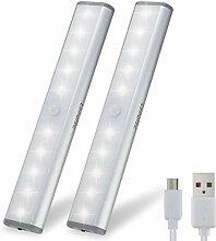 2er Set 10 LED USB Schrankbeleuchtung, Nachtlicht