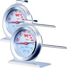 2er-Set 3in1 XL Braten- &Ofen-Thermometer für