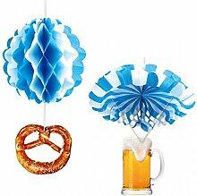 2er Set Ballon und Fallschirm Bayern Oktoberfest Hänge Deko Party