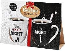 2er Set Becher, Paartassen für MRS. & MR. RIGHT Geschenk für dich la vida (14,95 EUR / Stück)