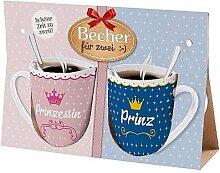 2er Set Becher, Paartassen für PRINZESSIN & PRINZ Geschenk für dich la vida (14,95 EUR / Stück)