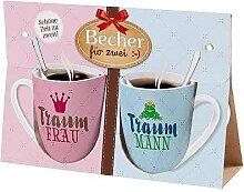 2er Set Becher, Paartassen für TRAUMFRAU & TRAUMMANN Geschenk für dich la vida (14,95 EUR / Stück)