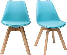 2er-Set Blaue Design-Stühle mit Holzbeinen PAULINE