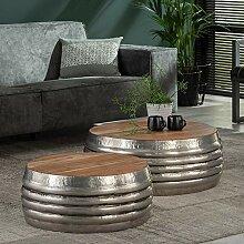 2er Set Couchtisch rund Metall Massivholz Tisch