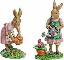 2er Set Deko-Figuren Oster-Hasen-Frauen bei der