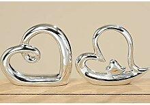 2er Set Dekofigur Herz Silber 19 cm