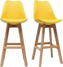 2er-Set Design-Barhocker Gelb und Holz 65 cm