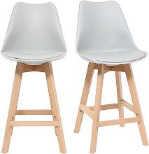 2er-Set Design-Barhocker Hellgrau und Holz 65 cm