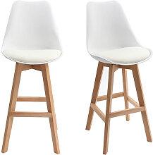 2er-Set Design-Barhocker Weiß und Holz 65 cm