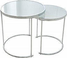 2er Set Design Couchtisch ART DECO - Chrom / Glas