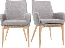 2er-Set Design-Sessel helles Holz und Stoff Grau