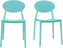 2er-Set Design-Stühle Meeresgrün Polypropylen-