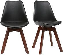 2er-Set Design-Stühle, Schwarz und Nussbaum