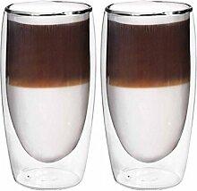 2er Set doppelwandige Thermo Latte Macchiato -