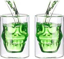 2er-Set doppelwandige Trinkgläser Totenkopf,