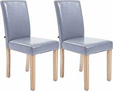 2er Set Esszimmerstühle, Küchenstühle, Lehnenstuhl, Sitzgelegenheiten, Besucherstühle, Stühle, Wartezimmerstuhl Kunstleder Holz natura grau #Ina