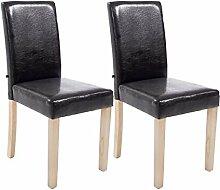 2er Set Esszimmerstühle, Küchenstühle, Lehnenstuhl, Sitzgelegenheiten, Besucherstühle, Stühle, Wartezimmerstuhl Kunstleder Holz natura braun #Ina