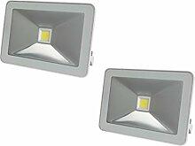 2er Set flache 20W LED Strahler weiß mit