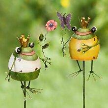 2er Set fröhliche Frösche Gartenstecker aus