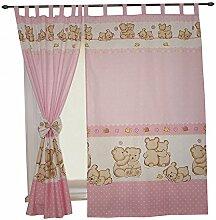 2er Set Gardinen Kinderzimmer Vorhänge mit Schlaufen und Schleifen 155x95 cm Dekoschal Schlaufenschal , Farbe: Bärchen Rosa, Größe: ca. 155x95 cm