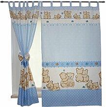 2er Set Gardinen Kinderzimmer Vorhänge mit Schlaufen und Schleifen 155x95 cm Dekoschal Schlaufenschal , Farbe: Bärchen Blau, Größe: ca. 155x95 cm