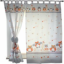 2er Set Gardinen Kinderzimmer Vorhänge mit Schlaufen und Schleifen 155x95 cm Dekoschal Schlaufenschal , Farbe: Eulen Grau, Größe: ca. 155x95 cm