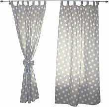 2er Set Gardinen Kinderzimmer Vorhänge mit Schlaufen und Schleifen 155x95 cm Dekoschal Schlaufenschal , Farbe: Grau /Weiße Sterne, Größe: ca. 155x95 cm