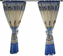 2er Set Gardinen Kinderzimmer Vorhänge mit Schleifen ca. 155x155 cm Dekoschal mit Kräuselband Kindergardinen, Farbe: Imagine Blau, Größe: ca. 155x155 cm