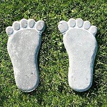 2er-Set Garten Trittsteine Fuß Füße  Beton grau 27,5x15cm H. 2cm Pajoma (14,95 EUR / SET)