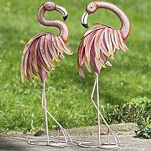 2er Set Gartenfigur Flamingo Topo Eisen Tier Vogel