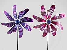 2er Set Gartenstecker Blumen mit Windrad H. 166cm