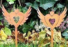 2er SET Gartenstecker Gartendeko Herz mit Flügel Rost (E)