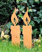 2er SET Gartenstecker Gartendeko Kerze Edelrost Design (D)