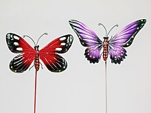 2er Set Gartenstecker Schmetterlinge 26cm rot +
