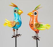 2er Set Gartenstecker Vogel H. 110cm blau + orange