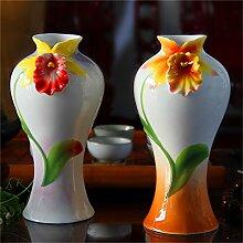 2er Set Handgefertigte Emaille Keramik Vase, B