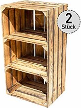 2er Set hohes Kistenregal mit 3 Fächern -